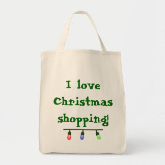 I Love Christmas Shopping Tote Grocery Tote Bag