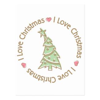 I Love Christmas Sweet Pastel Christmas Tree Postcard