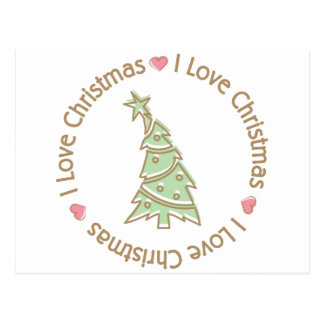I Love Christmas Sweet Pastel Christmas Tree Postcard