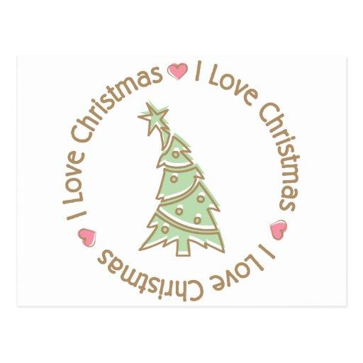 I Love Christmas Sweet Pastel Christmas Tree Postcards