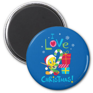 I Love Christmas - TWEETY™ 6 Cm Round Magnet
