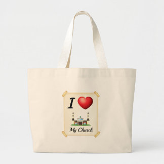 I love church jumbo tote bag