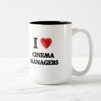 I love Cinema Managers (Heart made from words) Two-Tone Mug