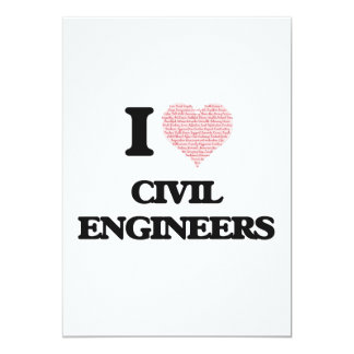 I love Civil Engineers (Heart made from words) 13 Cm X 18 Cm Invitation Card