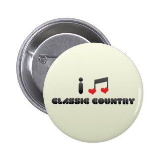 I Love Classic Country Pinback Buttons