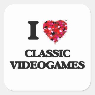 I Love Classic Videogames Square Sticker