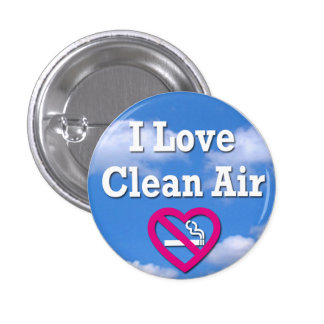 I Love Clean Air 3 Cm Round Badge