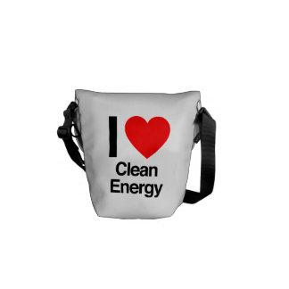 i love clean energy messenger bag