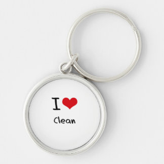 I love Clean Silver-Colored Round Key Ring