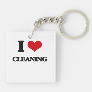 I love Cleaning Square Acrylic Keychain