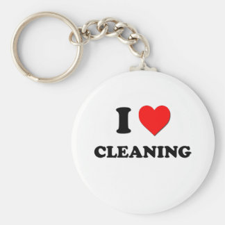 I love Cleaning Basic Round Button Key Ring