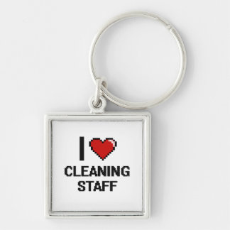 I love Cleaning Staff Silver-Colored Square Keychain