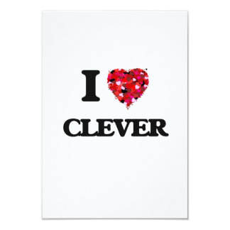 I love Clever 9 Cm X 13 Cm Invitation Card