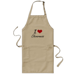 I love Cleverness Artistic Design Long Apron