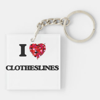 I love Clotheslines Double-Sided Square Acrylic Key Ring