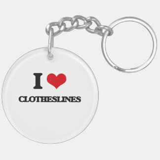 I love Clotheslines Double-Sided Round Acrylic Key Ring