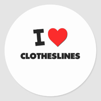I love Clotheslines Round Sticker