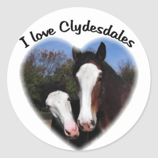 I love clydesdales classic round sticker