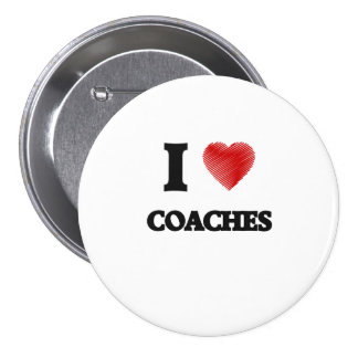 I love Coaches (Heart made from words) 7.5 Cm Round Badge