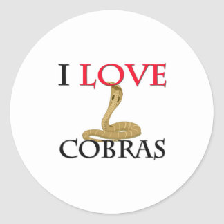 I Love Cobras Classic Round Sticker