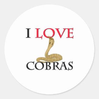 I Love Cobras Round Sticker