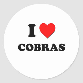 I love Cobras Round Stickers