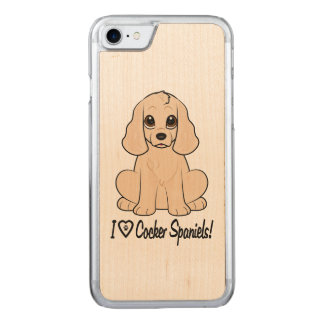 I Love Cocker Spaniels with Paw Print in Heart Carved iPhone 8/7 Case