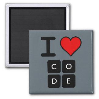 I Love Code Square Magnet