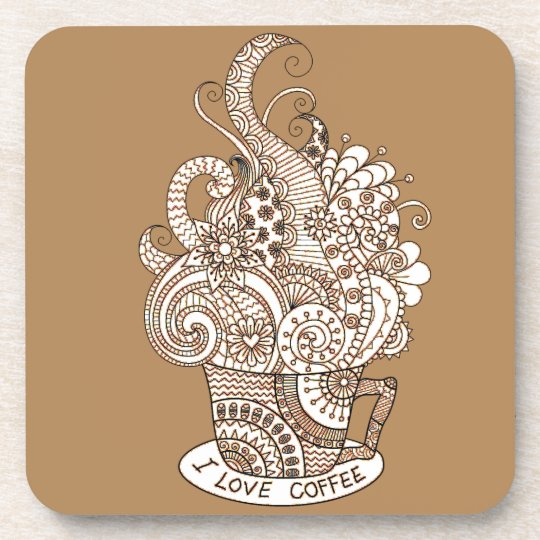I Love Coffee Beverage Coasters