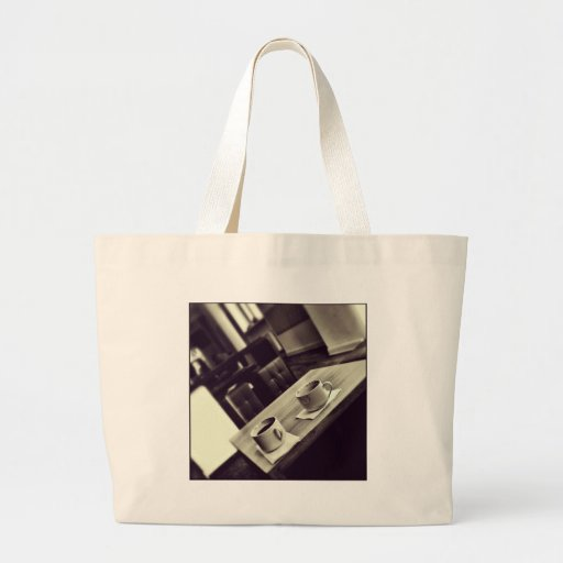 I love Coffee Cafe Shop Coffee Cups on Table Tote Bags