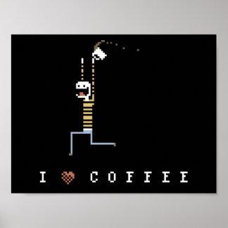 I Love Coffee Caffeine Guy Pixel Art Poster
