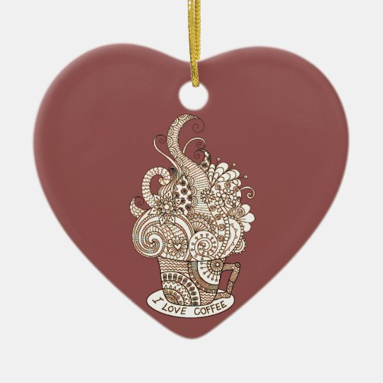 I Love Coffee Ceramic Heart Decoration