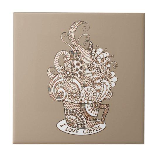 I Love Coffee Ceramic Tile