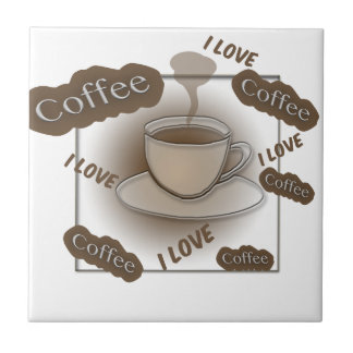 I Love Coffee Cup Small Square Tile