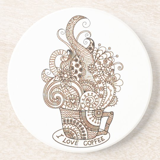 I Love Coffee Drink Coaster