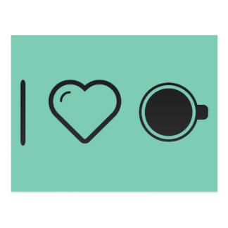 I Love Coffee Fortune Telling Postcard