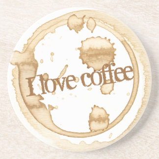 I Love Coffee Grunge Text with Coffee Stains Coaster