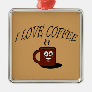 I love coffee metal ornament