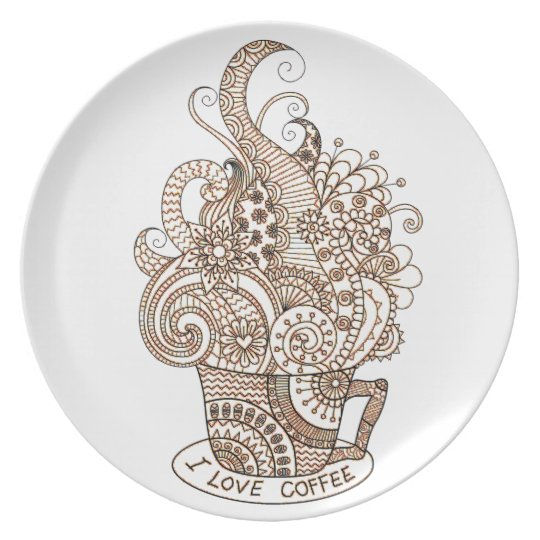 I Love Coffee Plate