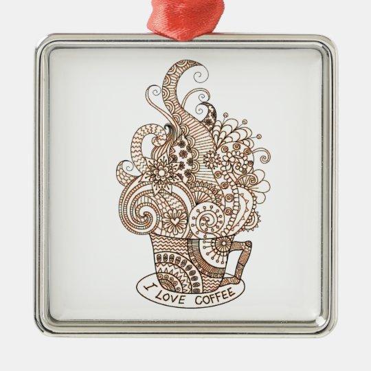 I Love Coffee Silver-Colored Square Decoration
