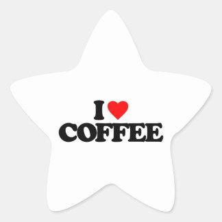 I LOVE COFFEE STAR STICKERS
