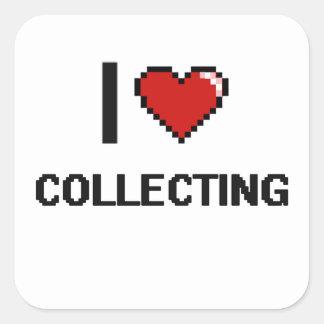 I Love Collecting Digital Retro Design Square Sticker