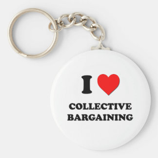 I love Collective Bargaining Basic Round Button Key Ring