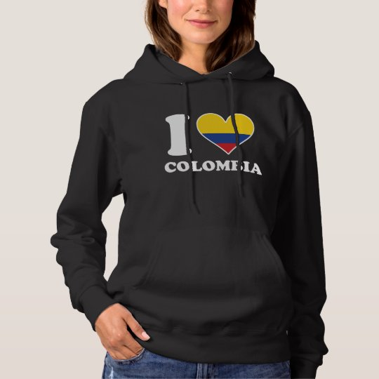 I Love Colombia Colombian Flag Heart Hoodie
