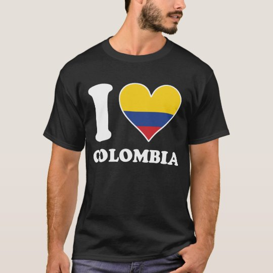 I Love Colombia Colombian Flag Heart T-Shirt