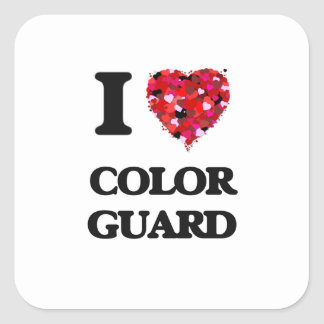 I Love Color Guard Square Sticker