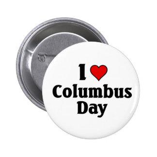 I love Columbus Day 6 Cm Round Badge
