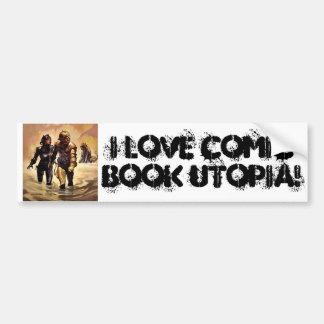 I Love Comic Book Utopia Retro 4  Bumper Sticker