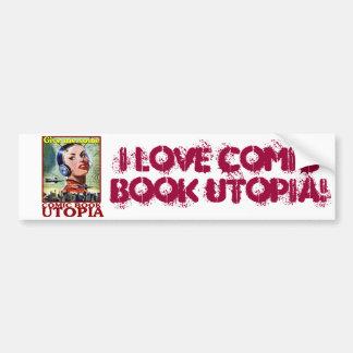 I Love Comic Book Utopia Retro Two Bumper Sticker Car Bumper Sticker