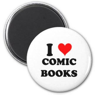 I Love Comic Books 6 Cm Round Magnet